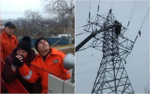 В Кишиневе мужчина взобрался на высоковольтный столб, угрожая покончить с собой. 20 тысяч потребителей остались без электричества
